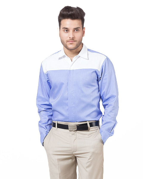 March Blue Cotton Shirt with White Yoke and Collar for Men