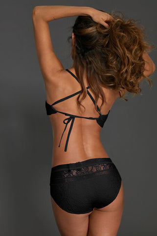 Black Lace-Trim High waist Bikini Set