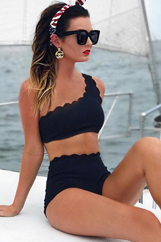 Black Scalloped One Shoulder High waist Bikini Set