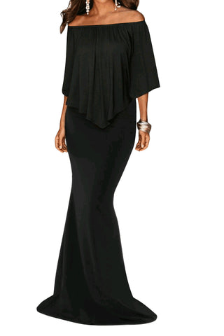 Black Off Shoulder Overlay Ruffle Gown