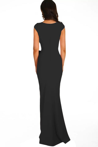 Black Ruched Wedding Party Gown