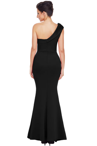 Black One Shoulder Ponti Gown