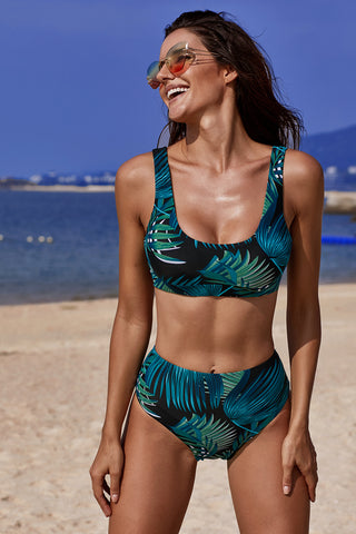 Black Tropical High Waist Print Bikini Set