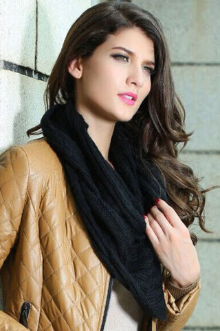 Black Winter Warm Knitted Scarf - Boldgal.com