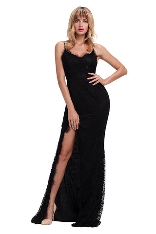 Black Lace Sleeveless Evening Gown