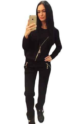 Black Women Two Piece Zip Top & Pant Set - Boldgal.com