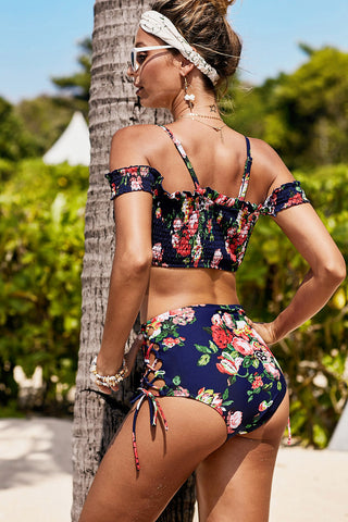 Blue Smocked Floral High waist Bikini Set