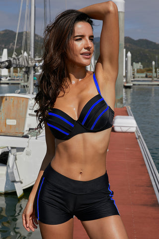 Blue Pippings Black Bikini Swimsuit