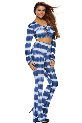 Blue Striped Two Piece Pant Set