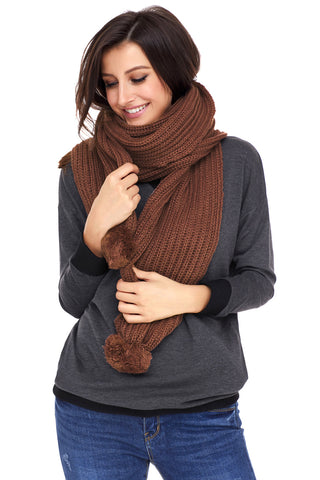 Brown Ribbed Knit Long Scarf
