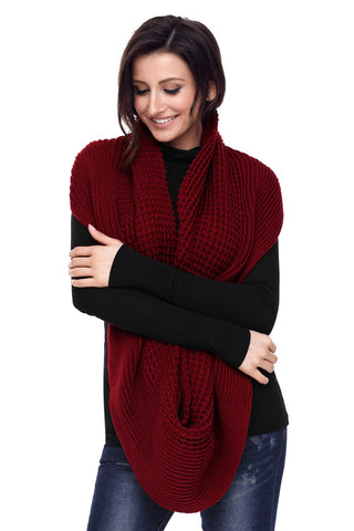 Burgundy  Cable Knit Long Scarf