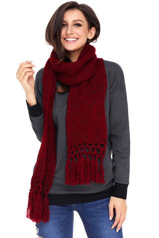 Burgundy Tassel Knit Long Scarf