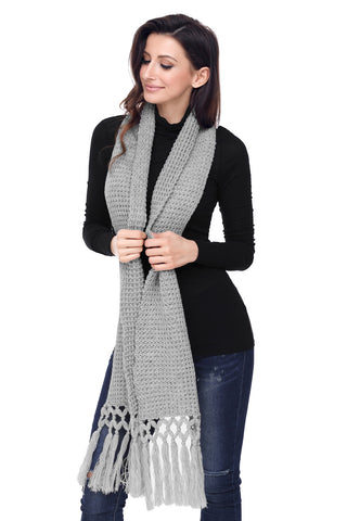 Grey Tassel Knit Long Scarf