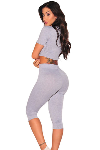Grey Round Neck Two Piece Pretty Pant Set - Boldgal.com