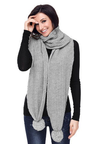 Grey Ribbed Knit Long Scarf