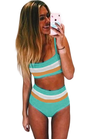 Mint Bandeau Stripes Bikini Set