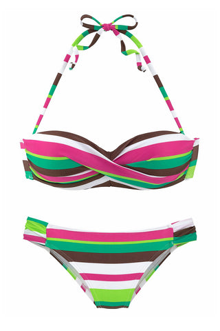 Green Push up Stripes Boho Bikini Set