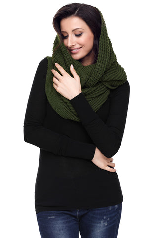 Green  Cable Knit Long Scarf
