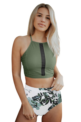 Green Criss Cross Print High waist Bikini Set
