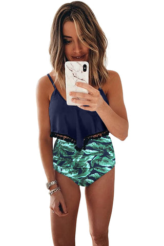 Green Beach Print High waist Bikini Set