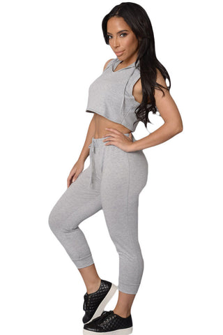 Grey Sleeveless Hoodie Matching Run Pant Set - Boldgal.com