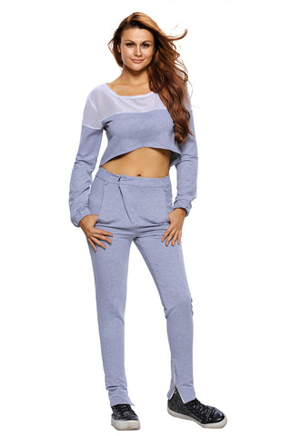 Grey Two Piece Matchy Top & Pant Set