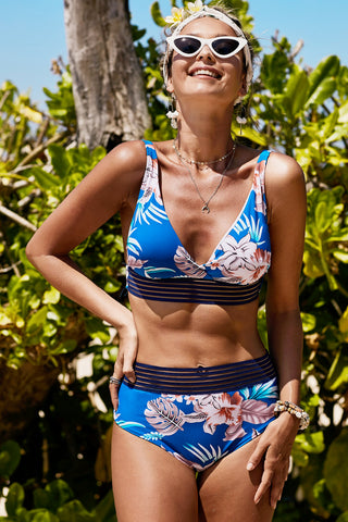 Blue Floral Print High waist Bikini Set