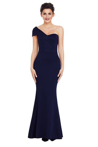 Navy Blue One Shoulder Ponti Gown