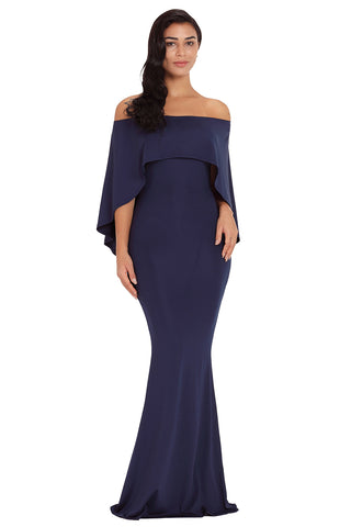Navy Blue Off Shoulder Poncho Gown
