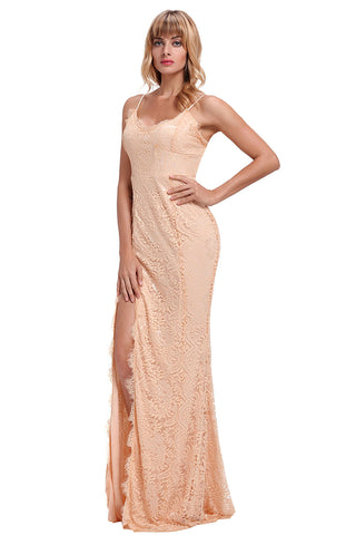 Beige Lace Sleeveless Evening Gown