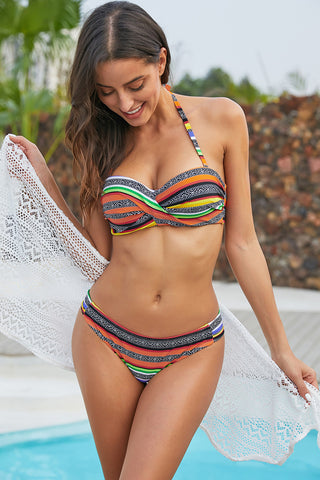 Orange Push up Stripes Boho Bikini Set