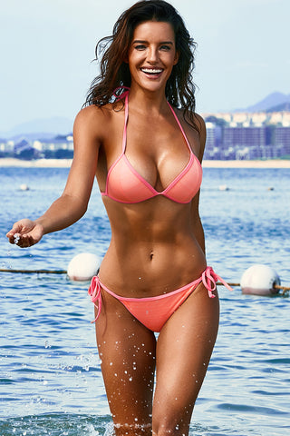 Pink Triangular Halter Bikini Set