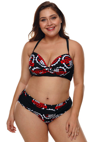 Black Stars Print Pleated High waist Bikini Set