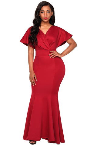 Red Off Shoulder Deep Neck Evening Gown