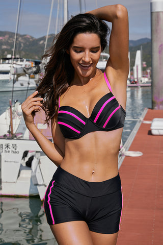 Pink Pippings Black Bikini Swimsuit