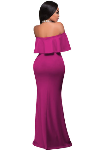 Pink Ruffle Off Shoulder Gown