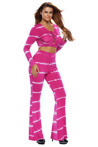 Pink Striped Two Piece Pant Set