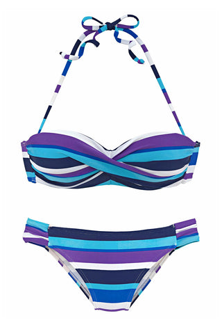 Sky Blue Push up Stripes Boho Bikini Set