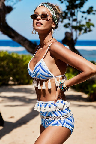 Sky Blue Tassel Stripes High waist Bikini Set