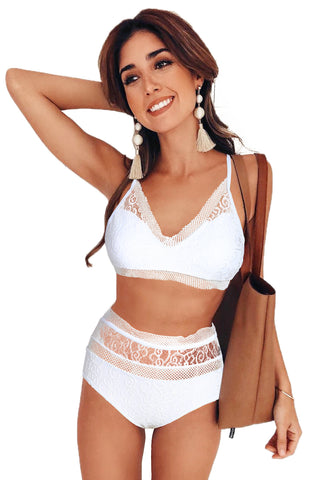White Lace-Trim High waist Bikini Set