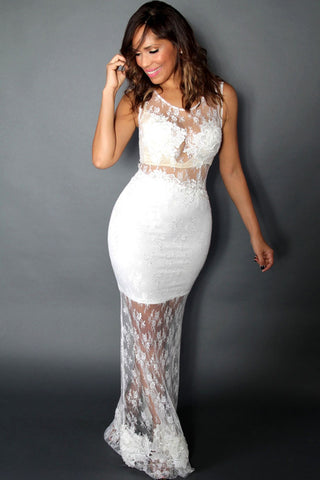 White Floral Lace Mesh Sleeveless Evening Dress - Boldgal.com