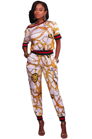 White Gold Multiple Print Pant Set