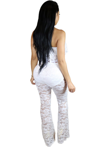 White Strapless Ruffle Lace Matchy Pant Set - Boldgal.com