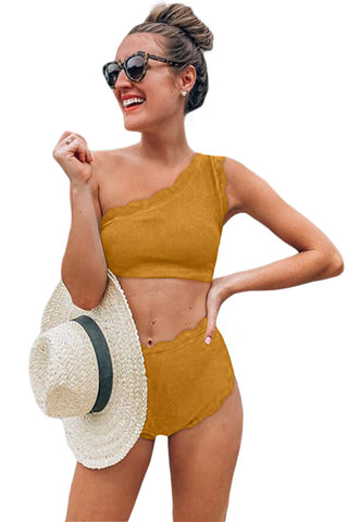 Yellow Scalloped One Shoulder High waist Bikini Set