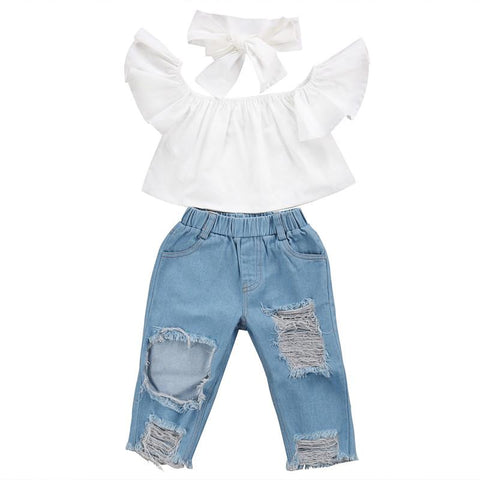 Off Shoulder Crop Denim Set - MunchkinGear.com