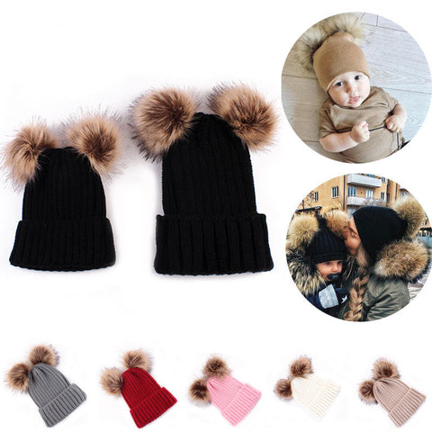 Matching Hat Mommy and Baby Double Pom Pom - MunchkinGear.com