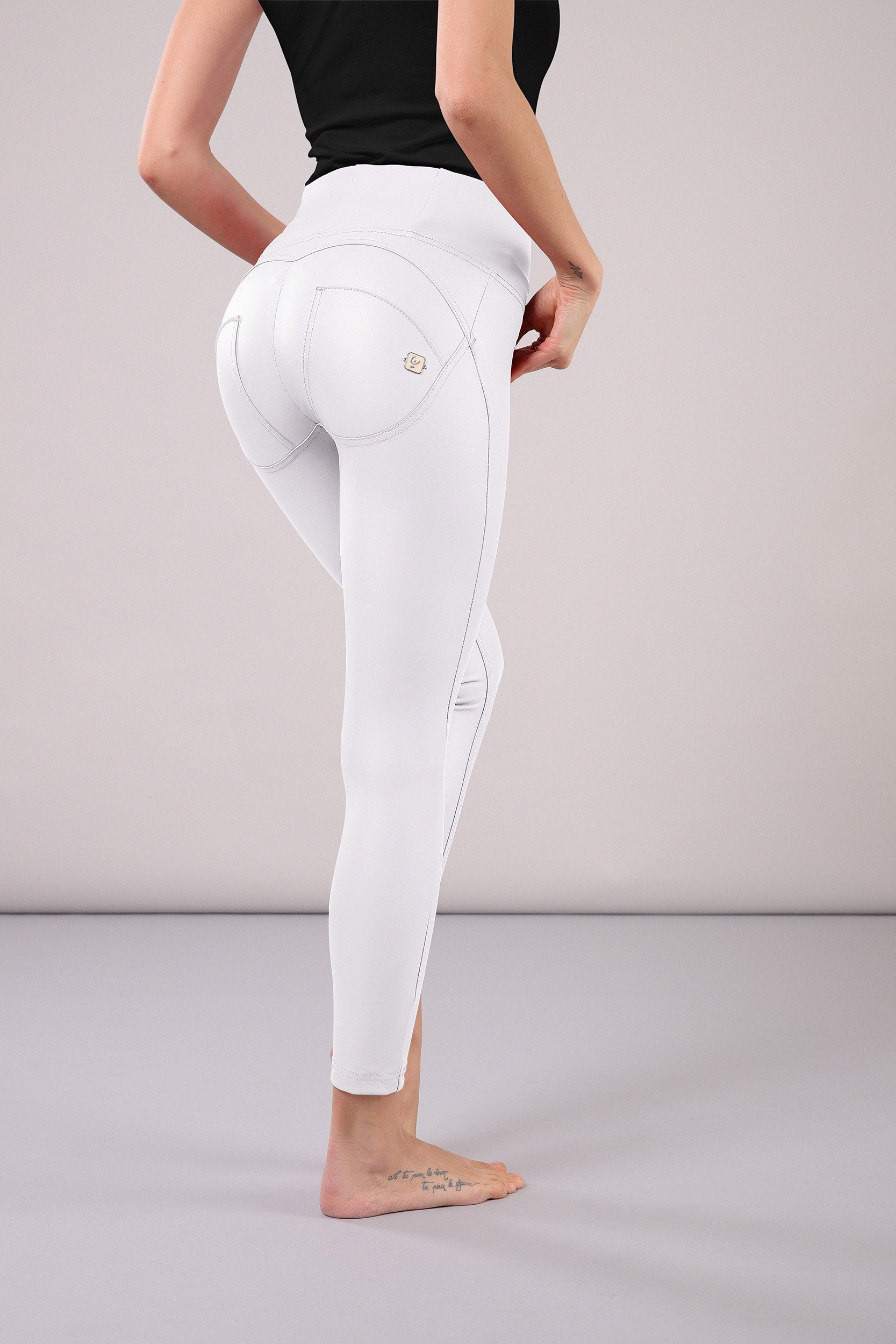 HIGH RISE SKINNY FAUX LEATHER WHITE
