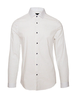 paisley & gray white & light blue polkadot slim fit long sleeve button-down collar dress shirt 2205W