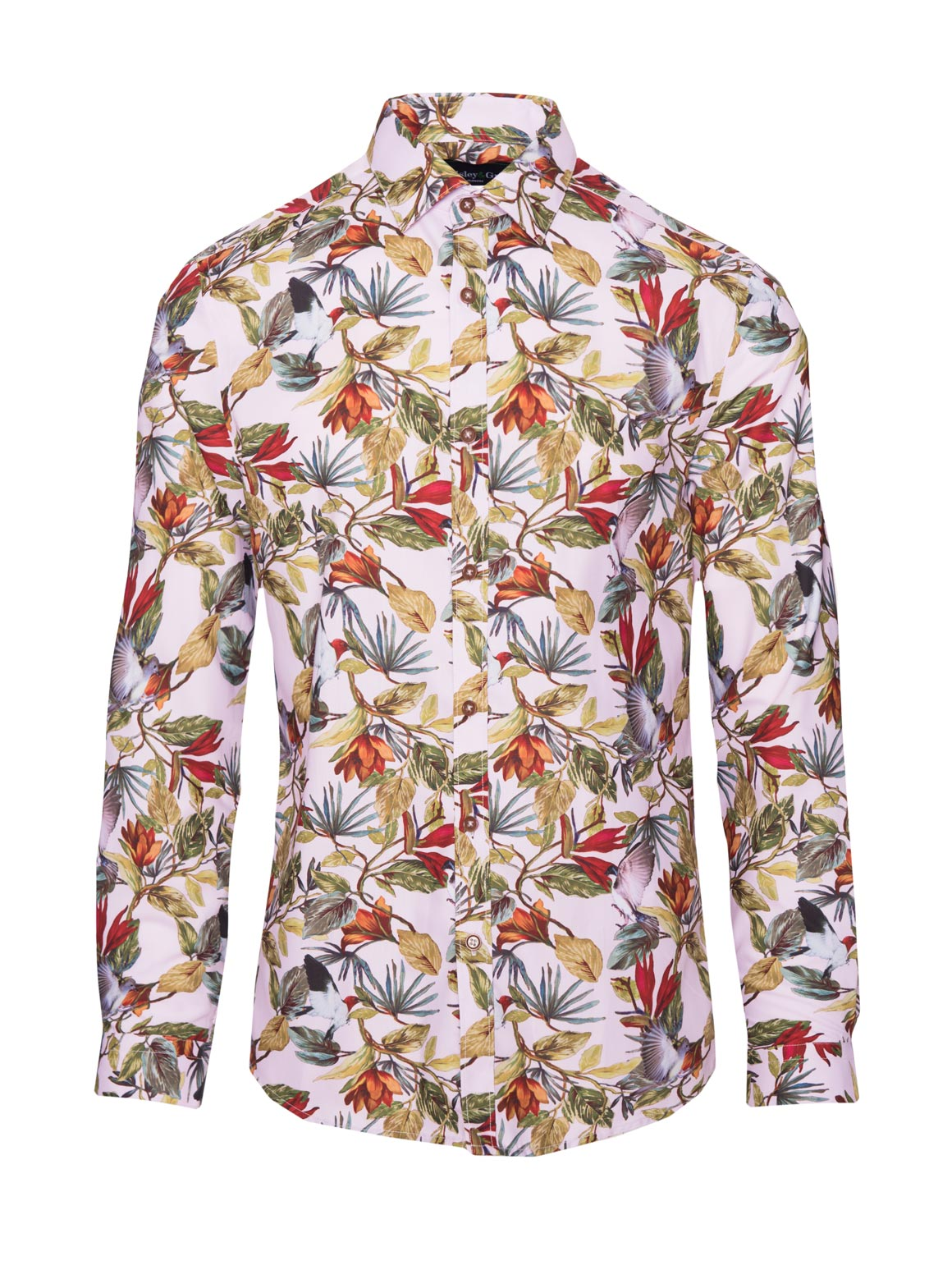 paisley & gray light pink with birds slim fit long sleeve spread collar dress shirt 2272W
