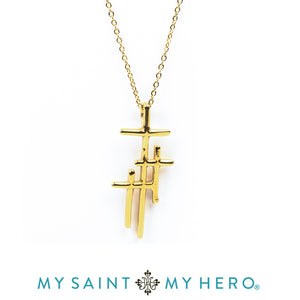 Faithful Light Three Cross Necklace- Gold - Inspired Style Boutique